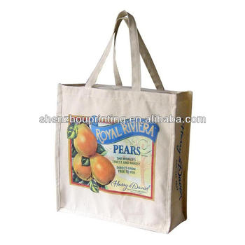 Made in China low price wholesales promotional OEM design 4 color heat transfer printing 12oz cotton canvas bags
