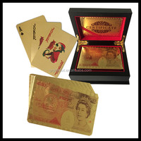 Business gift cards wood box poker cards Durable gold/ silver foil embossed playing card