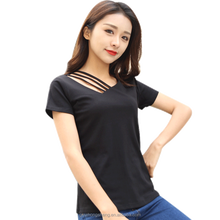 2018 Fashion V-neck Shirts Hollowed out clothing for Women Wholesale Custom T-shrits