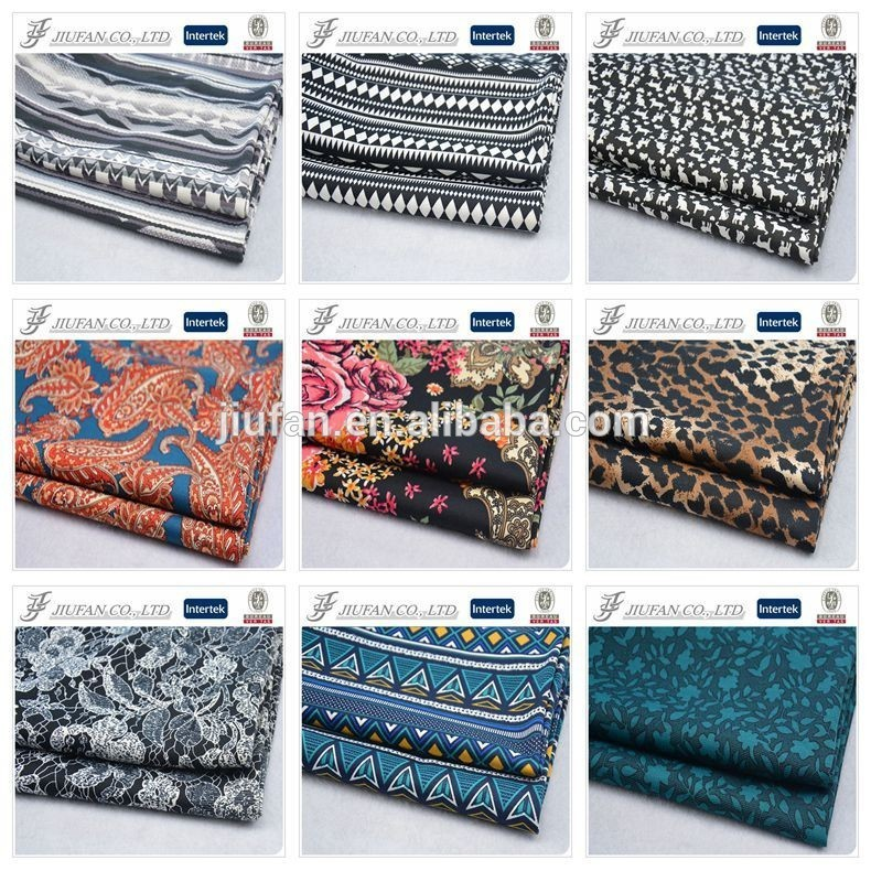 Jiufan Textile Good Quality Printing Polyester Spandex Roma /Ponte Roma Stretch Lycra Knitted Fabric For Garment Shaoxing