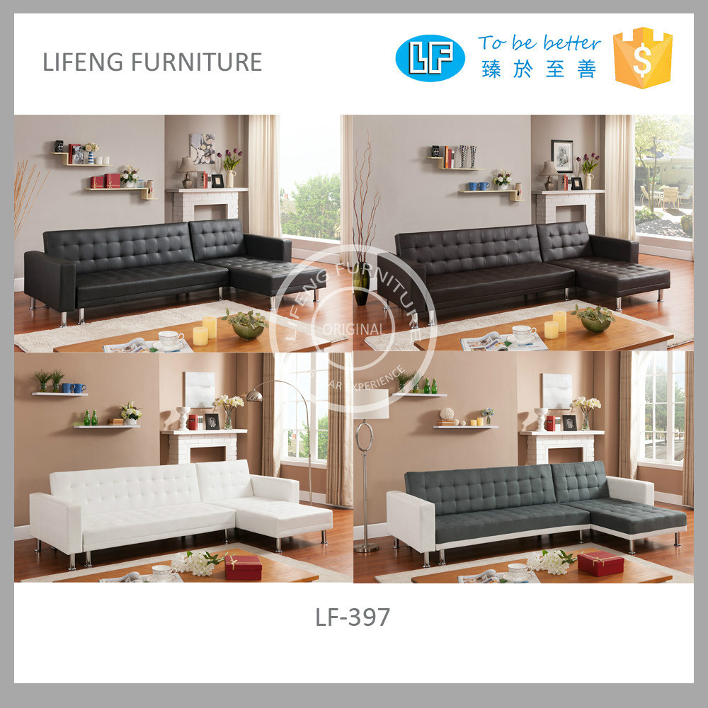 cheap leather corner sofa with nice tufting and various colors LF-397