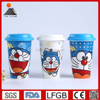 Hot sale custom printing double walled ceramic travel mug with lid