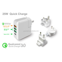 High quality powerport 4 USB type C wall charger with cube tranparent case package