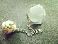 Hot selling stainless steel food grade flower tea ball with chain
