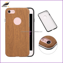 [somostel]New design wooden pattern 3 in 1 case for iphone 7 leather case,mobile phone accessories