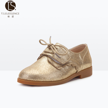 Wholesale Girl Pewter Gold Color Lace Up Flat London Style Children Shoes