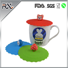 Wholesale Cartoon Lovely Round Shape Food Grade Tea Coffee Glass Cup Silicone Mug Cover