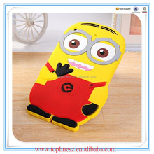 Soft Silicone Cartoon Case 3D Cute Minions Despicable Me 2 Case Back Cover for iPad mini Tablet PC Case