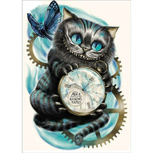 DIY 5D Diamond Painting by Number Kit, Cat Clock Crystal Rhinestone Embroidery Cross Stitch Arts Craft Canvas Wall Decor