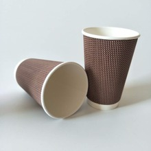 disposable custom logo printed 16oz hot coffee insulated ripple wall paper cups used in supermarket