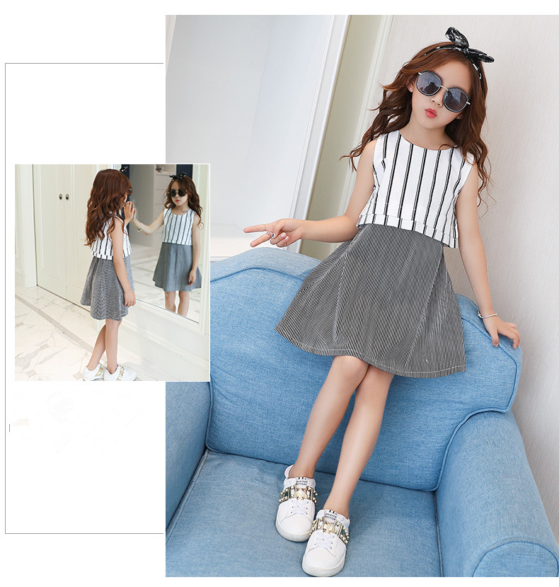 Casual frock designs children student striped dress a line chequer pattern skirt black and white red and white stripe