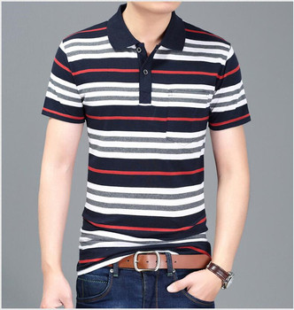 Free Shipping Men's Striped Tee Shirts Summer Fashion Polo Shirt Cotton Tops