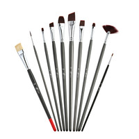 Wholesale Art Supplies Mixed Hair 10PCS Privated Label Oil and Acrylic Paintbrushes Set with Canvas Bag