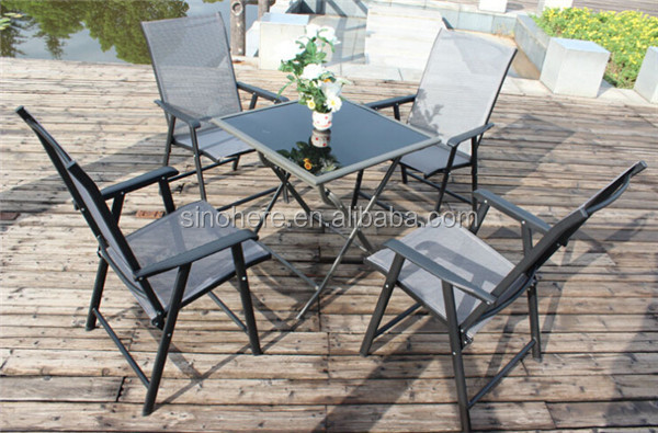 Folding table and chairs bistro patio furniture set