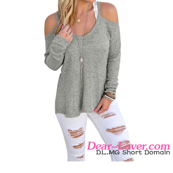 Dear-lover Gray Cold Shoulder Knit Long Sleeves hand woven sweaters