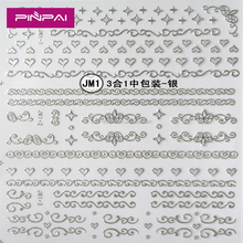 Wholesale 3d silver metal nail art stickers