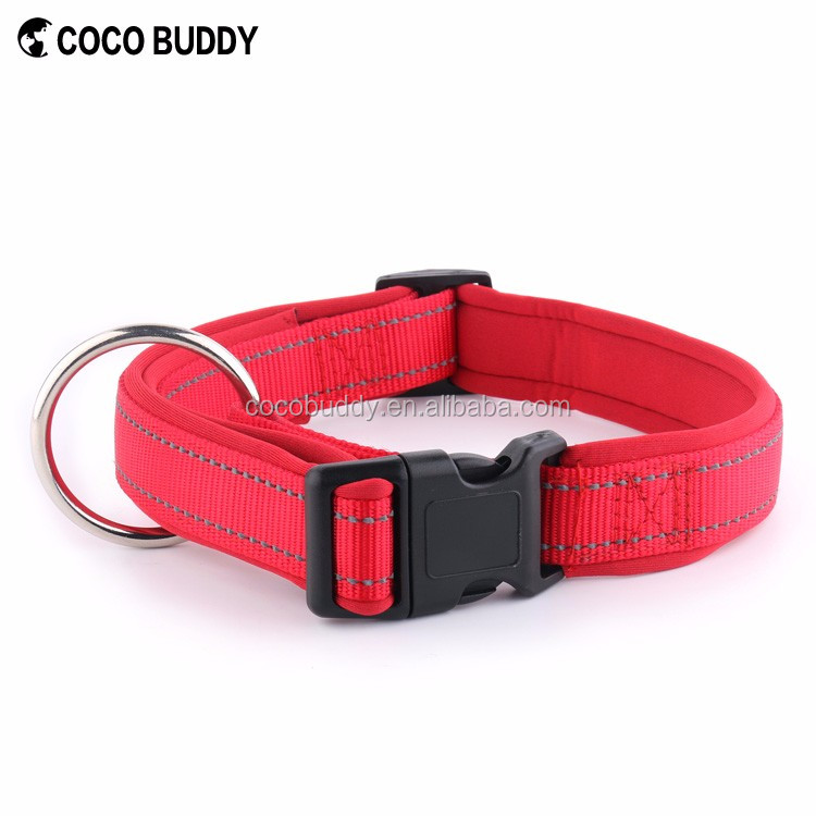 Luxury Soft Neoprene Padded Nylon Dog Collar with Reflective strips