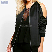 custom varsity jackets cold sexy off shoulder scuba zipper up black or pink bomber jacket woman