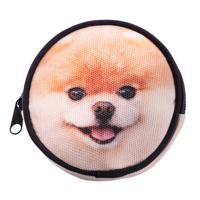 wholesale lastest diy boo dog print tiny round shape custom coin purse