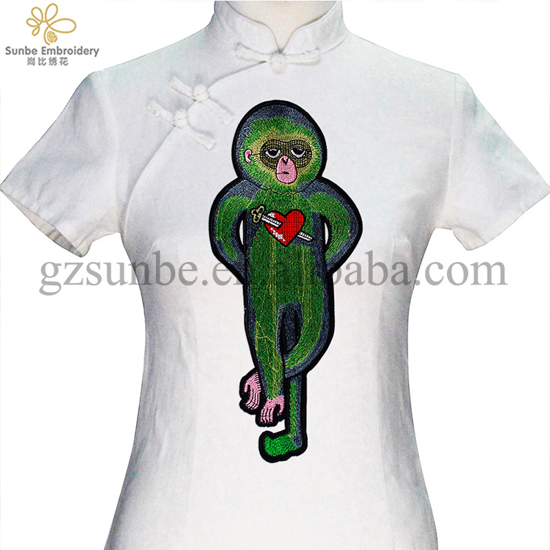 Green <strong>Monkey</strong> with Heart Arrow Patches Iron on <strong>Embroidery</strong> Applique Badges Craft Sewing for ClothesDecorated can be customized