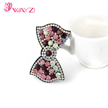 wayzi brand crystal hair accessories hairpin artificial leather cute hair clips for girls