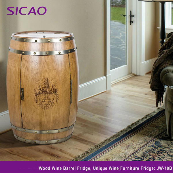 Patented Refrigerated oak wood wine barrels fridge home bar hotel furniture coolers all-in-one