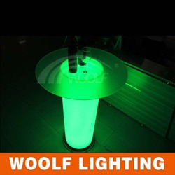 LED glass top rotating round bar tables