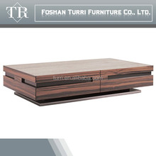 2015 Latest ebony veneer rectangular coffee table with natural marble top