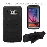 Armor case with clip shockproof combo cover Alibaba factory supply mobile phone case for Samsung Galaxy S6