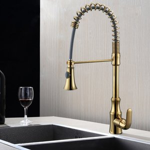 Pull Down Spring Faucet Single Handle High Arc Brass Gold Kitchen Faucet Pull OUT