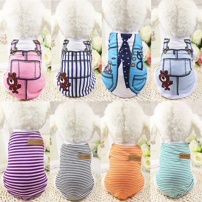 BK1043 2017 New Classic Pet Dog Clothes For Dogs Spring Summer Dog Clothes Costume Vest Stripes Pet Clothes Wholesale