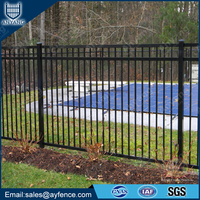 Double Top Rail Black Powder Coated Aluminium Garden Fence for Residential District