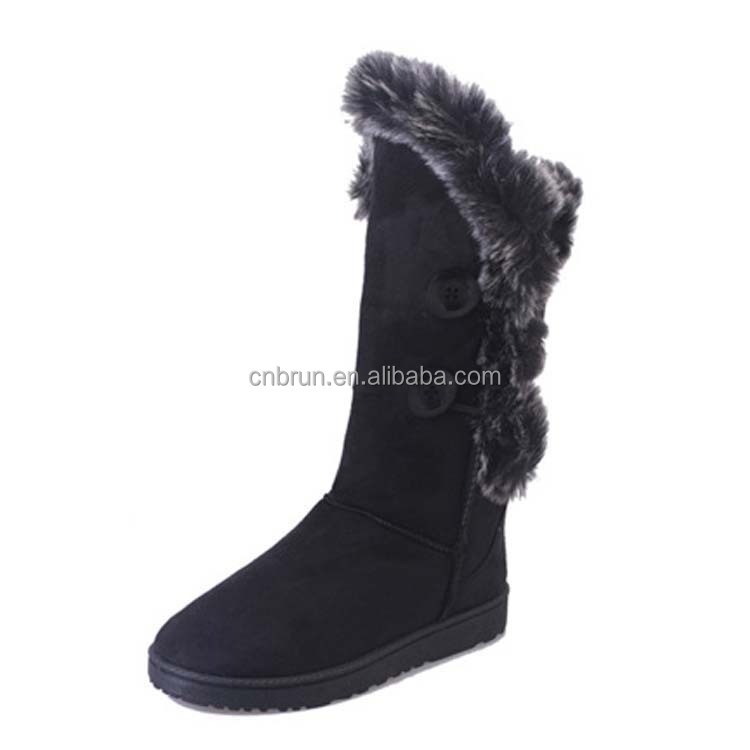 Warm snow knee <strong>boots</strong> women for winter brown and black color