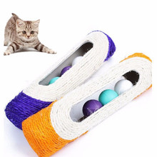 Kitten Pet Cat Toy Long Rolling Sisal Cat Scratching Post with 3 Roller Ball