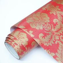 European style damask pattern embossed vinyl wallpaper removable sticker paper home decoration