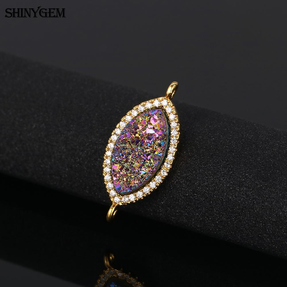 Marquise evil eyes 18 k gold plated natural druzy stone mirco pave zircon fashion pendant charms connector for jewelry making