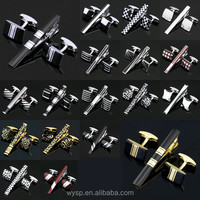 Stainless Steel Gentleman Cufflinks and Tie Clip Set For Men Shirt High Quality