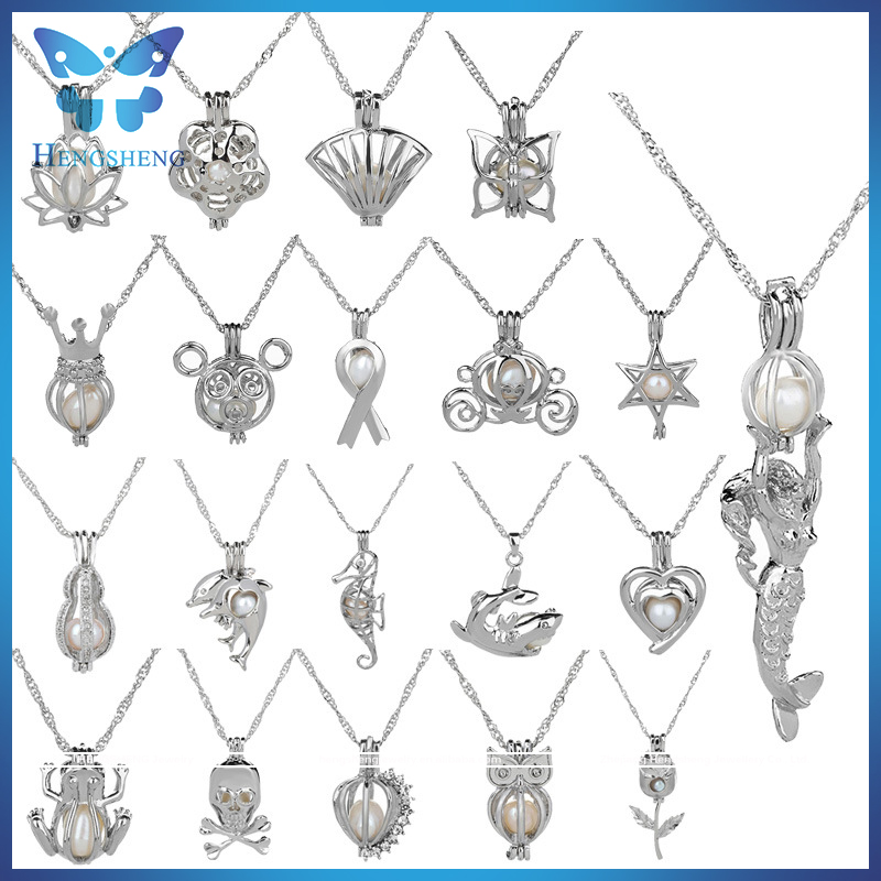 19 fashion style new arrival silver plated cage jewelry pendants and <strong>charms</strong> with 45cm chain