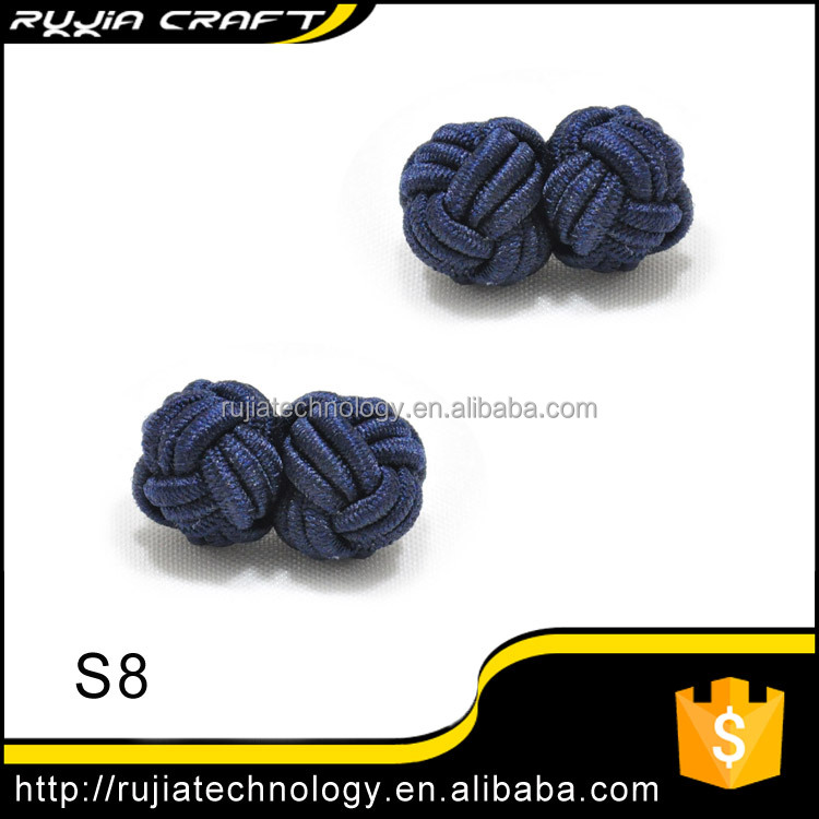 zhejiang Shengzhou Supplier double ball silk knot cufflink S8-S14