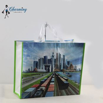 Factory sale trendy style city luxury customized woven shopping bag