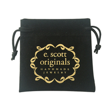 Custom logo printed black jewelry velvet pouch bags