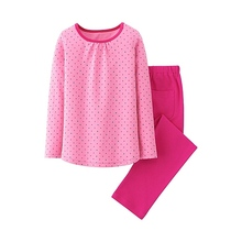 Popular Girl Casual Wave Point Pink Home Matching Clothes Set