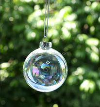 CLEAR IRIDESCENT GLASS WEDDING BAUBLES ORNAMENT 8CM CHRISTMAS BALL