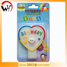 EN71 hot sale baby birthday fancy magic heart number 3 candle