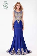 Real Photos 2015 Latest Elegant Style Royal Blue Long Mermaid Evening Dresses High Quality Appliqued Beaded Ladies Formal Dress