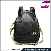 BP77037 2018 Wholesale top quality waterproof hot style black lady leather backpack with shoulder strap travelling backpack