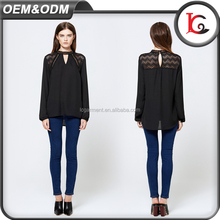best price fashion design long sleeve sexy lace women casual images applique black lady chiffon blouse