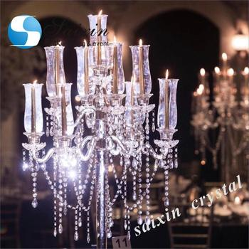 ZT-267 New wedding evert table centre piece hanging crystal  beaded candelabras