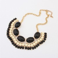 98964 bulk semi-precious stone 2014 fashion germanium statement necklace jewelry