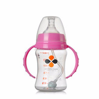 Hot selling bpa free adult baby feeding bottle 120ml disposable plastic cup with lid and straws